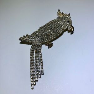 Vintage Rhinestone Cockatoo Parrot Bird Brooch Pin